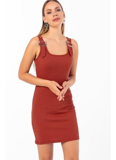 Emjey Kuşgözü Askılı Tokalı Elbise Kahve